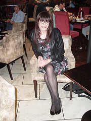 Eating Out (Starrynowhere) Tags: black glasses legs tights crossdressing tgirl flats tranny transvestite pantyhose crossdresser crossdress nylons transvestism crossdressed dressedasagirl starrynowhere wearingwomensclothes emmaballantyne