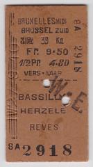 Bruxelles - Bassilly - Herzele - Reves 27.09.1910 (SchoonbrodtB) Tags: train de bruxelles railway ticket belgian 1910 brussel chemin fer edmonson nmbs reves herzele sncb bassilly