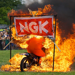 Into the Fire (McTumshie) Tags: england london danger fire unitedkingdom flames motorbike motorcycle lambeth stunt brockwellpark londonist lambethcountryfair 16july2016