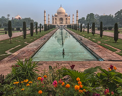 Reflection Pool, Taj Mahal (bfryxell) Tags: agra flowers fountain india marble mausoleum minaret mosque mughalarchitecture reflectionpool tajmahal tomb zzz uttarpradesh