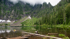 Lake 22 (Mountain Hermit) Tags: lake22 mountpilchuck washingtonstate snow waterfall tree forest water log scree cloudy landscape day
