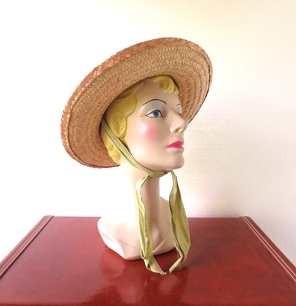 56f33091 1940s straw sun hat with scarf tie (Small Earth Vintage) Tags: hat 1940s