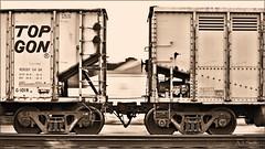 Coal Gons (Images by A.J.) Tags: train railroad railway hopper coal top gon sepia monochrome motion blur pan rail ns norfolk southern pa pennsylvania pittsburgh line freight