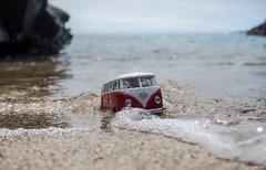 L e t ' s  S w i m (Morgane Klber) Tags: blue sea summer seascape blur france art beach water car creek volkswagen landscape miniature sand rocks escape bokeh stones bretagne imagination van exploration