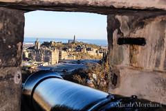 Edinburgh Castle (micahmoreland) Tags: city uk reflection castle stone modern scotland war edinburgh kingdom battle lookout medieval safety cannon stronghold