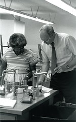 Dr. Donald Halenz and student (PUC Special Collections) Tags: laboratory lab pacificunioncollege chemistrydepartment chemistrylab chemistry beakers test tubes scientist labcoat experiments angwin california adventist sda seventhdayadventist college