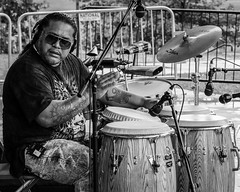 Conguero (tim.perdue) Tags: conguero festival latino columbus ohio summer 2016 bicentennial park scioto mile downtown urban city music percussion hand drums conga live performance band concert musician dejavu latin fusion rhythms cymbal cowbell timbales congas microphones sunglasses tattoos black white bw monochrome street candid