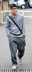 (One Direction Archive) Tags: walking grey glasses hoodie fulllength trainers zane battersea tracksuit rehearsals hooded handsinpockets bagstrap onedirection nikehoodie tracksuitbottoms joggingbottoms xfactorfinalists