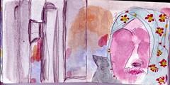als ruhte das Gewicht der Welt in den Blten ihres Kopftuches, drckte es sie dem Boden entgegen (raumoberbayern) Tags: sketchbook skizzenbuch tram munich mnchen bus strasenbahn herbst winter fall pencil bleistift paper papier robbbilder stadt city landschaft landscape auto car kopftuch veil
