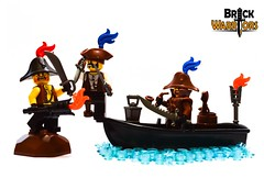 The Fight (BrickWarriors - Ryan) Tags: brickwarriors custom lego minifigure weapon helmet armor bicorn tricorn hat pirate colonial fort boat attack coat dagger breaker sword torch cutlass pipe lantern