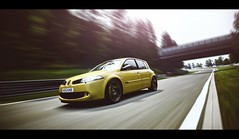 Megane (Thomas_982) Tags: gt5 gt6 cars auto renault megane rs nrburgring nordschleife deutschland frankreich france germany panning motion gelb yellow ps3 gran turismo