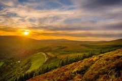Mountain Glory (CAN Photo) Tags: tranquil landscape sunset ireland goldenhour hillside gold hill orange wicklowmountains adventure warm serene travel exploration scenic wicklow travelandtourism sunlight traveldestination intothesun warmcolours nature cowicklow