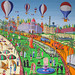 Naive painting of the city of Nice France after the deadly terrorist attack picturesque promenade was murdered and massacred figures murderous terrorist events in Syria  Iraq  Israel and France  Europe United States
