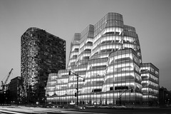 IAC Building Mono (Mabry Campbell) Tags: 2014 april frankgehry gehry houstonphotographer iac iacbuilding mabrycampbell manhattan ny nyc newyork newyorkcity us usa unitedstates unitedstatesofamerica architecturalphotography architecture architecturephotography blackandwhite commercialphotography digital editorialphotography exterior fineartphotographer fineartphotography image lighttrails monochrome photo photograph photographer photography f16 january 2016 january132016 20160113campbellb0000320 80mm sec 100 hc80