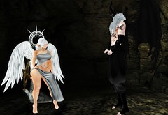 Not giving in (Ashildr the Avariel) Tags: sl secondlife second life rp roleplay role play avatar avatars dragon avariel elf ears wings halo holy horns shaman friendship conflict confrontation elmandria tunnels spirit death light shadows
