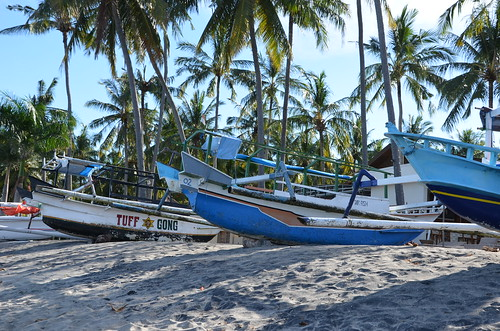 Boote am Mangsit Beach, Lombok