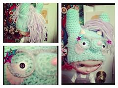 Scene Bunny Horse Monster (EssHaych) Tags: horse bunny hat monster doll crochet helmet horns wip blythe erikosemporium