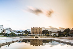 Al-Azza, la splendida (Luminux1) Tags: longexposure sunset reflection castle architecture tramonto muslim islam unesco sicily palermo sicilia circularpolarizer hoya riflesso arabo patrimonio zisa castellodellazisa arabonormanno fotga ndfader