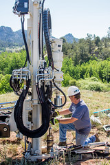 Sampling the subsurface: 4 of 10 (bflinch1) Tags: trees hardhat portrait green person equipment research granite blair push wyoming geology hydraulics drilling hardhatarea geotech geophysics workportrait geoprobe waterresearch pushcore