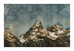 The Grand Tetons, at sunset. (rkuruvilla) Tags: sunset snow mountains art nature watercolor painting landscape nationalpark twilight fineart scenic rocky explore painter expressionism wyoming grandtetons wilderness mountainrange semiabstract dailyart paintsmall