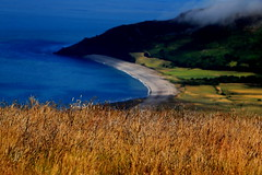 Halcyon Days of Summer (acwills2014) Tags: halcyon beach coast sea blue headland cloud exmoor coastalpath heritage idyllic deserted summer grasses halcyondays bokeh peaceful serenity