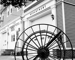 Hose Reel (Dalliance with Light) Tags: antique scans building ilfordhp5 hosereel film nj firehouse firebarn olympus35sp bw firehose milltown firedepartment newjersey unitedstates us