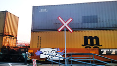 The Passenger (Exile on Ontario St) Tags: train tracks trains crossing vieuxport montral graffiti streetart urbanart dessin drawing oldport montreal port vieux freight level track passing pn passageniveau ferroviaire transport transports transportation cargo cargotrain voieferre niveau passage marche moving mouvement levelcrossing