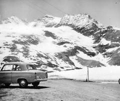Ford Anglia 100E at summit of Bernina Pass, Switzerland about 1955 (NE2 3PN) Tags: 1955 ford anglia 100e switzerland bernina pass
