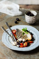 filetto d'orata con pomodorini e olive (Laura Adani) Tags: summer stilllife food fish vertical tomato recipe olive tasty nopeople homemade meal seafood copyspace foodanddrink prepare nutrition ingredient seabream gourmand fillet maindish sauted