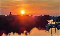 Sunset   Sonnenuntergang - Neustdter Hafen, Dresden (Andr-DD) Tags: dresden sommer summer germany deutschland saxony sachsen sonnenuntergang sonne sun sunset hafen harbor neustdterhafen wasser water elbe river flus ostrapark