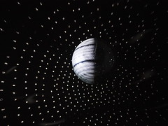 Earth's rotation (dream/imagination) Tags: light space art disko ball lowlight black darkness letters olympus omd em10 mzuiko digital 45 mm micro four thirds schwarzer hintergrund earth rotation luminous high iso zentrum fr internationale lichtkunst unna