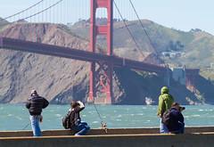 Gone fishin' (Michael Dunn~!) Tags: bridge goldengatebridge marinadistrict meta photographers photowalking photowalking20130414 sanfrancisco streetphotography suspensionbridge water