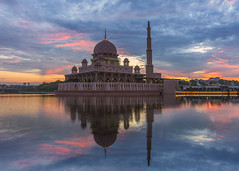 Red Sunrise (BooJunk) Tags: architecture asia asian beautiful blue building city design dome environment famous federal figure freedom gold history holiday holy islam islamic kuala lake landmark landscape lights lumpur malaysia masjid mosque muslim nature new pray profile putrajaya reflection religion river side sky sunrise territory tourism travel view water worship