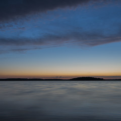 Simple colors (dzohan) Tags: lake blue hour sky clouds water colors simple landscape mazury square colorful longexposure sunset
