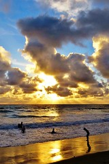 Golden storm beach (moonjazz) Tags: gold beach california paradise coast sandiego photography color travel sunset shimmer shine rays sun horizon pacificocean swimming surf vacation summer clouds dazzling up high nature weather silhouette heaven dramatic