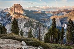 Looking Back at Yosemite (matthewkaz) Tags: halfdome mountain mountains california glacierpoint snow trees yosemite yosemitenationalpark waterfall nationalpark water clouds sky nevadafalls sierranevada 2010