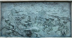 Brass plaque on the bas of the statue of Bertram Ramsay depicting the evacuation of Dunkirk (favmark1) Tags: dovercastle phoebe