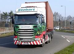 H2086 - PE64 MWN (Cammies Transport Photography) Tags: truck julie roundabout lorry eddie anita carlisle scania esl kingstown stobart eddiestobart mwn r450 h2086 pe64 pe64mwn