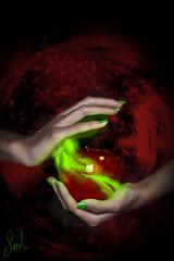 Poison apple (Sariixa) Tags: red selfportrait verde green apple photoshop photo rojo hands foto manzana smoke magic manos devil poison autorretrato humo fotomontaje magia malvado fotomanipulacin envenenado