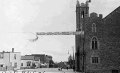 Donald Street Banner (TBayMuseum) Tags: ontario canada history election politics churches alcohol booze jarvis banners advertisements fortwilliam thunderbay hogarth ontarioelection standrewspresbyterianchurch donaldstreet