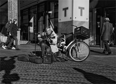 Chuck is playing his guitar (zilverbat.) Tags: ca street portrait people urban blackandwhite bw music blanco monochrome dutch photography town blackwhite artist noir image zwartwit guitar candid livemusic thenetherlands citylife streetphotography streetlife streetscene denhaag timelife chuck vox thehague streetshot urbanlife mensen streetcandid grotemarktstraat peopleinthecity straatfotografie blackwhitephotos urbanvibes straatfotograaf humansofthehague
