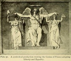 A symbolical production showing the Genius of France adopting Liberty and Equality.  via https://archive.org/stream/symbolsatireinfr01hend/symbolsatireinfr01hend#page/111/mode/1up  French Revolution (C. Cengiz evik) Tags: page franszdevrimi frenchrevolution revolution liberte liberty libertas zgrlk eitlik equality symbol