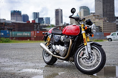 Triumph Thruxton R (Eric Flexyourhead (shoulder injury, slow)) Tags: red canada detail bike vancouver zeiss downtown bc britishcolumbia motorbike triumph motorcycle british fragment shallowdepthoffield thruxton 2016 theshop waterfrontroad 55mmf18 sonyalphaa7 zeisssonnartfe55mmf18za spitnshine triumphthruxtonr 2016spitnshinevintageandcustommotorcycleshowandshine