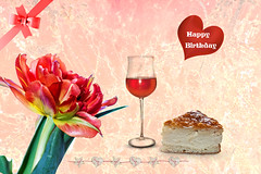 Happy Birthday (Jutta M. Jenning) Tags: birthday rot artwork geburtstag happybirthday herz kuchen wein tulpen tulpe composing herzen schleife papageientulpe grusskarten grusskarte papageientulpen spruchkarte spruchkarten