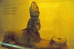 gypten 1999 (273) Luxor-Museum: Sphinx von Tutanchamun (Rdiger Stehn) Tags: afrika gypten egypt nordafrika 1999 winter urlaub dia analogfilm scan slide 1990er 1990s obergypten sdgypten aad diapositivfilm analog kbfilm kleinbild canoscan8800f canoneos500n 35mm luxor misr  altgypten altertum archologie antike statue museum luxormuseum ausstellungsstck exponat gyptologie sphinx tutanchamun