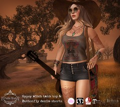 Petite Mort- Gypsy Witch outfit (Petite Mort- Outfitting the modern bohemian) Tags: sl second life fashion event crossroads mesh summer slink belleza maitreya tmp accessories purse bag bohemian boho gypsy hippy hippie style petite mort petitemort