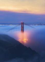 Horn (michaelhindman.com) Tags: california fog goldengatebridge sanfrancisco sunrise marinheadlands mountains bridge