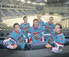#42 Paul MORAN (first from left) in action (kirusgamewornjerseys) Tags: belfast giants ice hockey game worn jersey kevin riehl paul moran