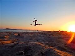 Sunset jump (CarolaPhotography) Tags: sunset sea me jumping ballerina sardegna poetto autoscatto