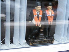 Laurel & Hardy - Loyal Friends:) (seanfderry-studenna) Tags: laurel hardy orangemen loyal orders grand lodge ireland statue statuette carricatures protestant unionist loyalist window display blinds shankill road woodvale north belfast northern united kingdom bowler hats funny comedy lol633 orange